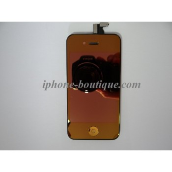 Bloc complet vitre tactile + ecran lcd rétina iphone 4 orange miroir