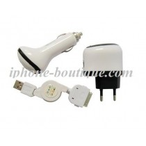 ★ iPhone/iPod ★ Kit de charge usb secteur allume cigare