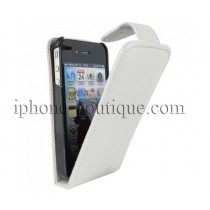 Etui coque rabattable style cuir blanc pour iPhone 4/4s