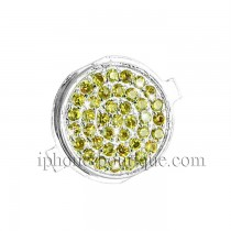 "★ iPhone 4 ★ Bouton ""Home"" ARGENT incrusté de pierres de  Zirconium"