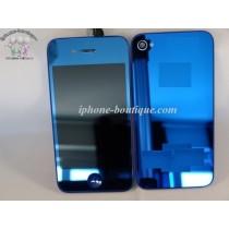 ★ iPhone 4 ★ Kit complet (Avant-Arrière) BLEU MIROIR