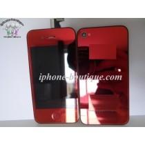 ★ iPhone 4 ★ Kit complet (Avant-Arrière) ROUGE MIROIR