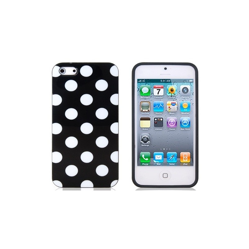 coque rigide pois blanc sur fond noir iphone 5 5s. Black Bedroom Furniture Sets. Home Design Ideas