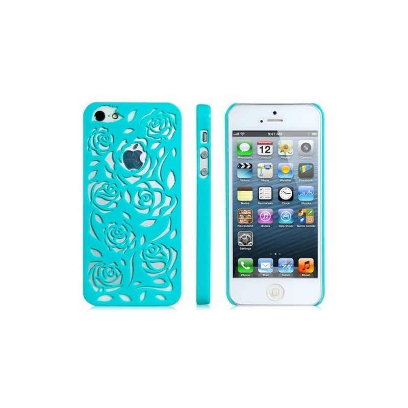 coque en plastique rigide style rosier couleur bleue turquoise iphone 5 5s. Black Bedroom Furniture Sets. Home Design Ideas