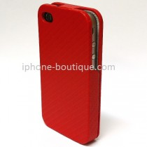 Etui coque rabattable style carbone rouge pour iPhone 4  et 4s