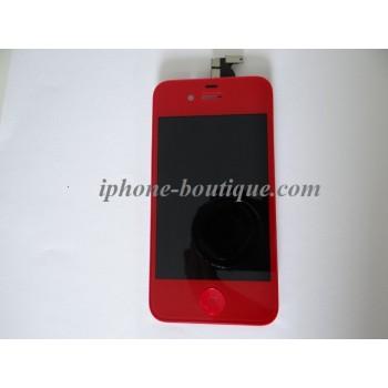 Bloc complet vitre tactile + ecran lcd rétina iphone 4 rouge