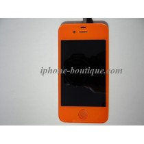 Bloc complet vitre tactile + ecran lcd rétina iphone 4 orange citrouille