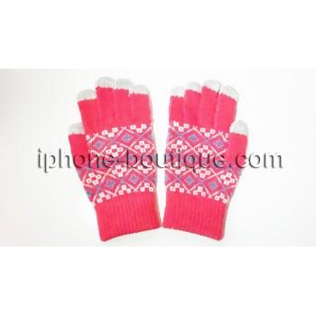 Gants tactiles rose iphone,smartphone