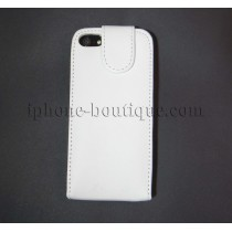 ★ iPhone 5,5S ★ Coque rabattable cuir blanc