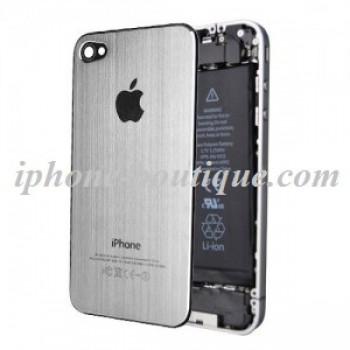 ★ iPhone 4 ★ Vitre arrière Alu Brossé ARGENT