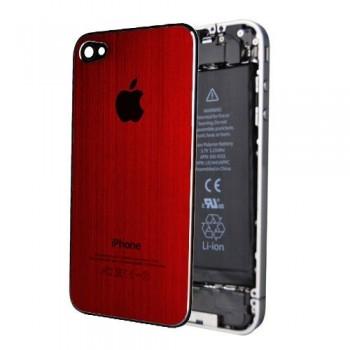 ★ iPhone 4 ★ Vitre Arrière Alu Brossée Rouge