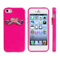 Coque Moustache Angleterre Rose - iPhone 5 / 5S