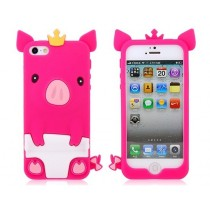 Coque Cochon en silicone Rose Fuchsia - iPhone 5 / 5S