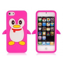 Coque Pingouin Rose en silicone - iPhone 5 / 5S
