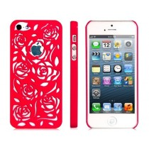 Coque en plastique rigide style Rosier couleur Rose fushia - iPhone 5 / 5S