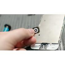 Bouton noir accueil prémontée avec valve  pastille métallique collée iPhone 5 et 5c