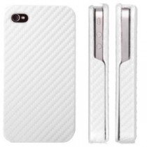 ★ iPhone 4/4S ★ Etui coque rabattable style carbone blanc