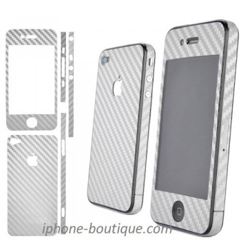 autocollant carbone sticker carbone argent iphone 4 4s + stylet