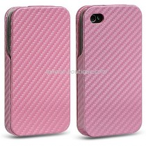 Etui coque rabattable style carbone rose iphone 4  et 4s