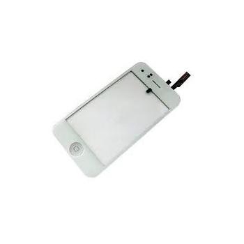 Vitre face avant tactile blanche iphone 3g plus bouton home blanc