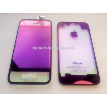 kit complet de transformation vitre iphone 4 violet transparent miroir