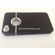 Coque de protection noir mate chromé pour iphone 4 / 4s